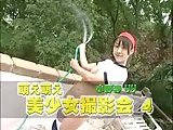 Japanese girl stripping outdoor