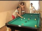 Teens threesome after billiards