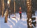 Teen gets naked in winter forest