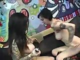 Teen goth lesbos lick each other