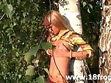 Ultra hot teen stripping in a forest