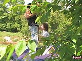 Garden fucking with titty teen