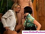 Clothed and glamorous threesome fun