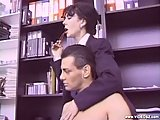 This slut gets hairy pussy drilled in office