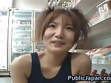 Miku Tanaka gives head in a shop