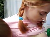 Pigtailed teen toyed