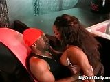 Too hot ebony busty babe sucks big black cock