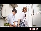 Cute schoolgirl seduce boys