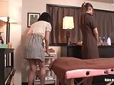 Dirty Jap lesbian in massage salon