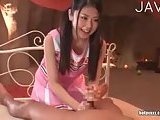 Jap cheerleader rimming guy ass