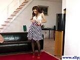 European brunette rides dick
