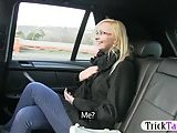 Blonde babe agrees to have sex in the cab!