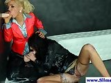 Jizz drenched lesbos messy at glory hole