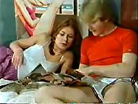 Vintage threesome with teens