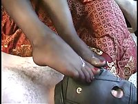 Stocking footjob with two girls