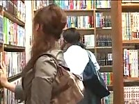 Asian lesbos sex in a library