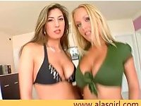 Busty lesbos play with their big tits