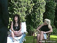 Busty lesbians playing outdoors