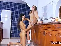 Teens play with sex toy