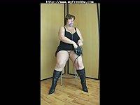 BBW slut solo stripping