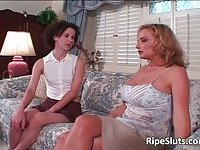 Curly slut having lesbian sex with hot blonde milf