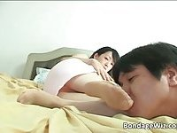 Hot asian slut plays with her man slave