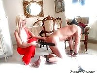Ultra blonde MILF with big tits loves fetish games