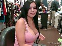 Brunette tramp tugs horny dick in public