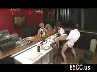 Cute pub staff fucked by work mate