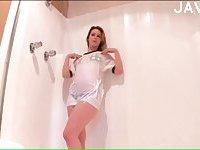 Yummy girl washing her body