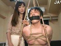 Hogtied guy in bondage