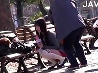 Hot Asian Chick Sucking Outdoor