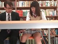 Jap in library finger fucked