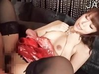Slut in black stockings gets fucked