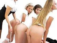 Three anal babysitters and their teacher