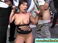 Asian slut in gang bang