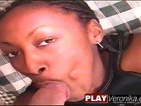 Ebony girl sucking cock