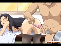 Chains hentai coed ass dildoed and ass drilled in the class