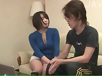 Asian wife waiting for hard drill