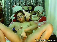 Gorgeous Tranny Babe Strokes her Cock