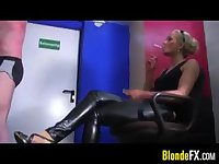 Blonde Mistress Abusing Her Slave