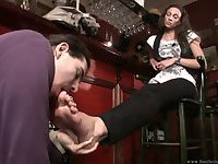 At the Whiskey bar foot worshipping brunette
