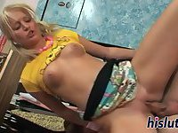Skinny blonde rides on a throbbing cock