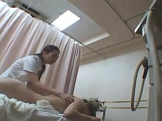 Masseuse pets hairy pussy