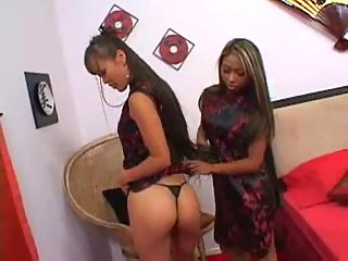 Asian bisexual tarts amuse with stud dick