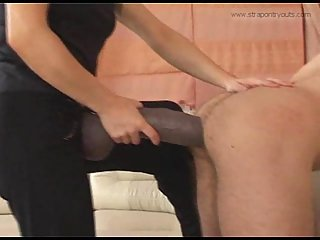 Mistress fucking dude asshole with strapon