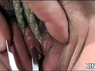 Blonde tied babe follows all severe orders