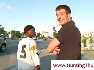 Black gay gangsta sucks white cock