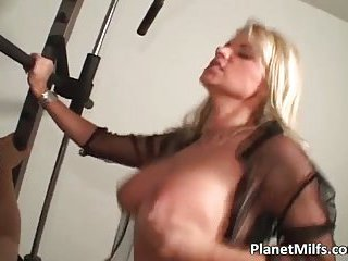 Very hot blonde with amazing tits takes hard stiff cock