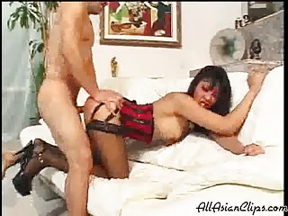Asian Beauty In Red Lingerie Ass Drilled